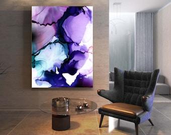 Deep Blue Abstract Fine Art Print, Amethyst Home Decor, Soft Purple Floral, Modern Living room Wall Art, UK