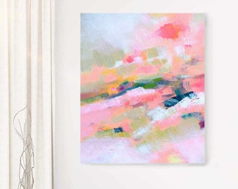 Pink Heather Abstract Art Print, Coral Home Decor, Oversized Canvas Wall Art for Living room