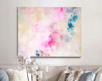 White Blossoms Fine Art Embellished Print, Home decor, Modern Office Interior Design, Oversized Abstract Wall Art, UK
