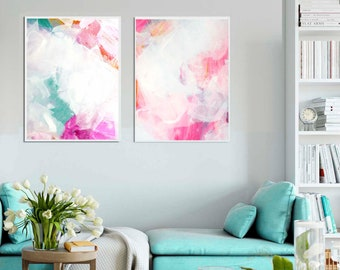 White Clouds Abstract Fine Art Print Set, Soft Pastel Interior Design, Home & Office Decor, Contemporary Pale Wall Art UK