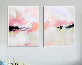 Blush White Set of 2 Prints, Fine Art Abstract Prints with Gold Leaf, Contemporary Modern Wall Art, UK