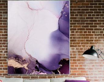 Aubergine Abstract Fine Art Print, Embellished Gold Leaf Modern Painting, Purple Home Decor UK