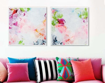 Apple Blossom Abstract Art Print Set, White Floral Print, Large Painting Set, Wall Art for Home & Office Decor
