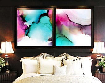 Hot Mint Set of 2 Art Prints, Large Abstract Paintings, Jewel Tones, Bright Pink Interior, Livingroom Decor UK