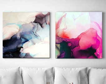 Indigo Pink Sky Set of 2 Abstract Canvas Art Prints, Home Decor Interior Design, Oversized Wall Art