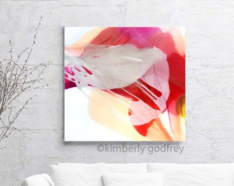 Abstract Blush Red Rose Petals Fine Art Print Contemporary Home Decor Floral Ink Painting