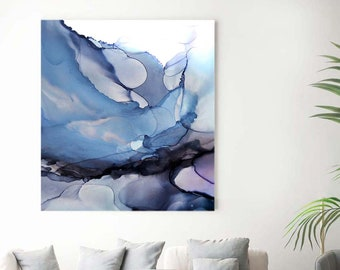 Soft Grey Abstract Sky Fine Art Print Moody Atmosphere Home Decor Dark Cloudy Blue Ink Large canvas