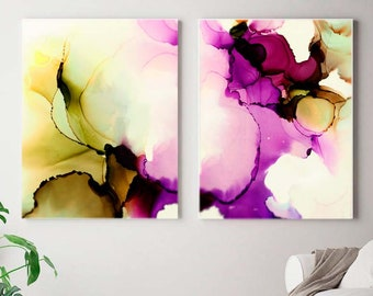 Amethyst Iris Abstract Fine Art Print Set, Olive Green and Rich Purples, Home Decor Ideas, Floral Painting