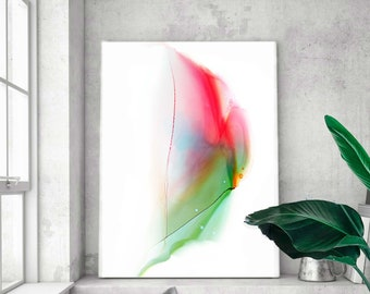 Minimal Rose Bud Abstract Fine Art Print, Home Office Decor, Modern Painting, Red Wall Art, UK