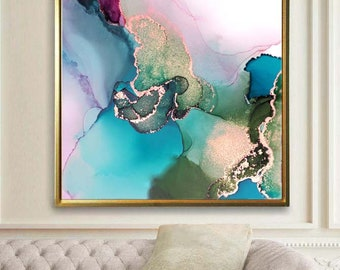Pale Blue Opal Abstract Fine Art Print, Embellished Gold Ink, Contemporary Modern Painting,  Interior Design, Wall Art