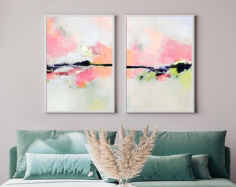 White Lies Set of 2 Prints, Fine Art Abstract Prints, Gold Leaf, Contemporary Modern Wall Art, UK