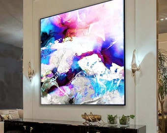 Cobalt Blue Violet Abstract Fine Art Print, Large Embellished Painting, Modern Interior Design, Contemporary Wall Art
