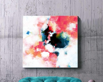 Contemporary White Hydrangea Square Abstract Fine Art Print, Oversized Painting, Home Decor, Floral Art