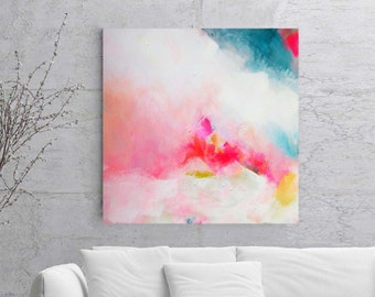 Soft Pink Art Print, Abstract Painting, Modern Home and Office Decor, Light Blue Interior Design, Abstract Wall Art