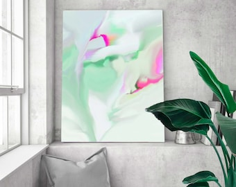 Soft Mint Green Floral Abstract Fine Art Print, Modern Canvas, Room Decor Aesthetic, White Iris Wall Art UK