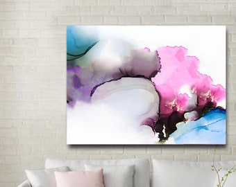 Modern Pink Abstract Art Print, Light Blue Embellished Canvas Print, White Decor, Bedroom, Living room Wall Art UK