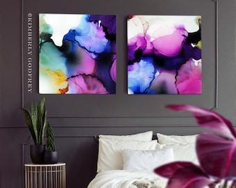 Violet Petals Set of 2 Abstract Fine Art Prints, Blue Interior Design, Large Abstract Purple Grey Wall Art, UK