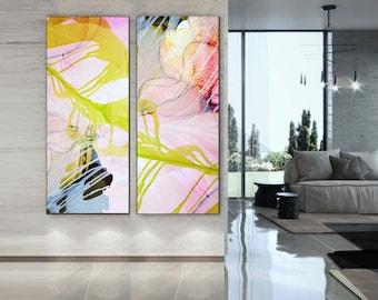 Abstract Set of Giclee Art Prints, Watercolor & Ink, Gold Floral, Blush Pink Petals, Long Narrow Wall Art