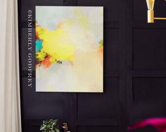 Buttercup Abstract Fine Art Print, Light Yellow Embellished Canvas wall Art, Home Decor, Large Art Print, UK