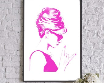 Audrey Rocks Fashion Illustration Art Print, Hot Pink Up do Hairdo, Salon Decor, Vintage Beauty Parlour, Retro 1960s Wall Art