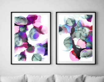 Contemporary Violet Abstract Print Set, Bubble Wall Art, Modern Blue Grey Circles, Home Decor