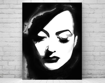 Old Hollywood Film Noir Illustration Art Print Glamorous B&W Decor 1940s Retro Hair Salon Ideas