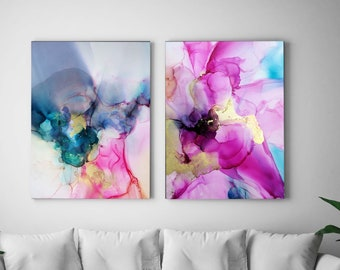 Amethyst & Turquoise Set of Abstract Embellished Fine Art Prints, Interior Design, Pink Jewel Tones, Gold Ink, Teal Wall Art, Home