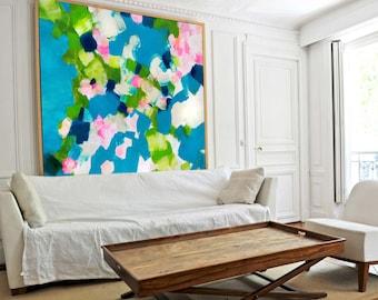 Turquoise Garden Modern Mid Century Abstract Art Print, Painting, Home Decor, Teal Aesthetic Wall Art, UK Artist