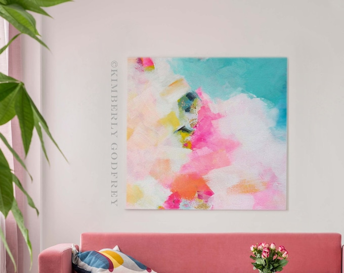 Featured listing image: Miami Mint Sky Abstract Fine Art Print, Pastel Interior Design, Bright Contemporary Painting, Gold Leaf Painting, Home Decor, UK