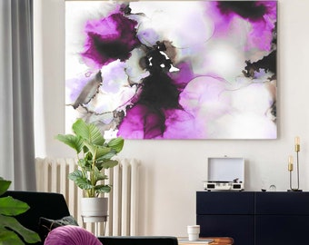 Black Violet Fine Art Print, Rich Purple Abstract Painting, Contemporary Floral Wall Art, UK