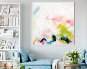 Contemporary Blush and Lime Green Square Abstract Fine Art Print, Oversized Painting, Home Decor, Floral Wall Art