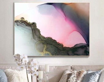 Pink Quartz Abstract Fine Art Print, Pastel Home Decor, Interior Design, Gold Embellished Painting, Oversized Wall Art, UK