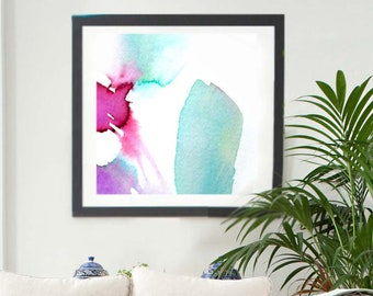 Abstract Floral Art Print, Soft Fuchsia Flower, Home Decor, Interior Design, Light Teal Watrcolour Painting, Wall Art UK