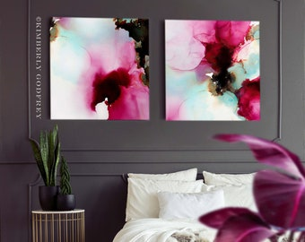 Cerise Peony Art Print Set of Abstract Flowers, Dark Pink, Grey Home Decor, Minimal Wall Art, UK