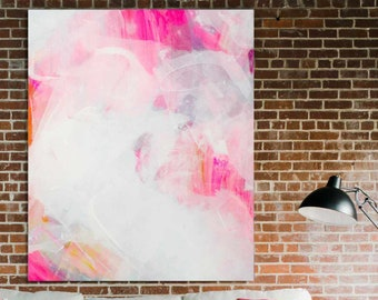 Pink Abstract Art Print, Light Canvas Print, White Decor, Bedroom, Living room Wall Art UK