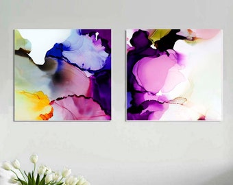 Abstract Print Set, Amethyst & Cobalt Blue Large Abstracts, Home Decor, Jewel Tones, Office Art Print Sets, UK