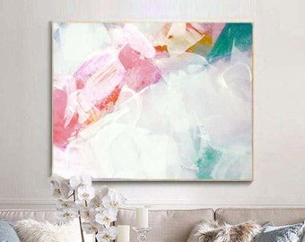 Pale Blush Abstract Fine Art Print, Contemporary Home Decor, Embellished White Abstract Painting