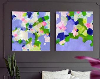 Bluebells & Snowdrops, Set of 2 Art Prints, Large Abstract Prints, Bright Blue Interior Design, Livingroom Decor, British Artist