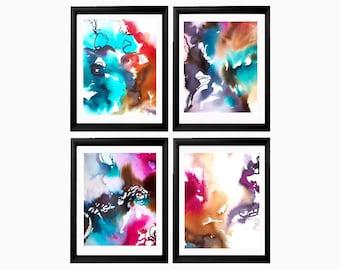 Set of 4 Abstract Floral Art Prints Watercolors Beautiful Flowers Hot Pink Teal Interior Design OOAK