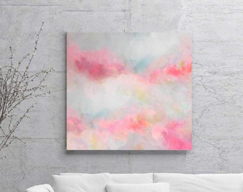 Delicate Pink Fine Art Print, Pale Soft Blush Abstract Painting, Feminine Art, Pastel Home decor, Wall Art UK