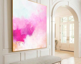 Creamcicle Pink Abstract Fine Art Print, Soft White Painting, Beautiful Large Wall Art, Unique Interior Design