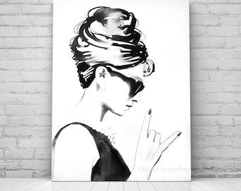 B&W Audrey Rocks Fine Art Print Fashion Illustration Vintage Black and White Style Icon Hair Salon Wall Art