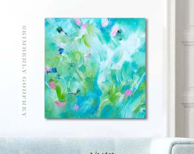 Featured listing image: Windermere Shore Abstract Art Print, Yellow Floral Wall Art, Room Aesthetic Decor, Teal Flowers, Interior Design UK