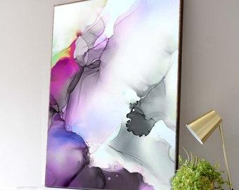 Fuschia & Merlot Abstract Fine Art Print, Modern Home Decor, Muted Pink Painting, Wall Art, UK