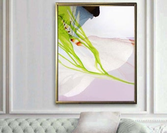 Lime Green & Indigo Abstract Fine Art Print, Abstract Floral Painting, Home Decor, Interior Design