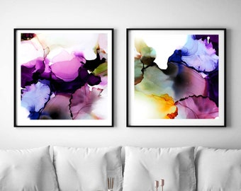 Purple Iris Set of 2 Abstract Fine Art Prints, Peacock Blue Interior Design, Large Abstract Floral Wall Art, UK