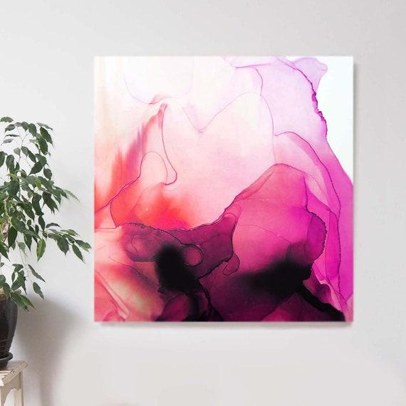 Incarnadine Cerise Zircon Abstract Jewel Fine Art Print Ink Painting Dark Pink INK Square Home Decor White Interior
