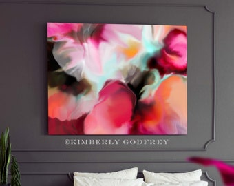 Red Begonia Abstract Fine Art Print, Hot Pink Floral Canvas wall Art, Home Decor, Interior Design, UK
