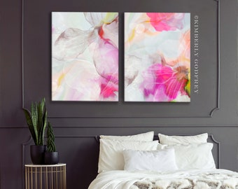 White Rose Abstract Fine Art Print Set, Soft Pastel Interior Design, Home Decor, Contemporary Pink Aesthetic Wall Art UK