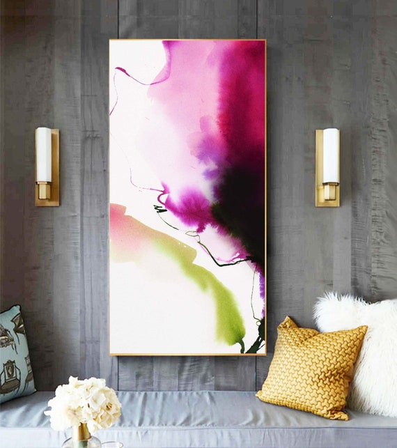 Deep Red Abstract Floral Giclee Print, Contemporary Flower Painting, Magenta and White Interior Design, Wall Art UK